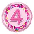 "Balon foliowy 18"" QL CIR ""4 z obrazkami, różowy"" ST ASORT"