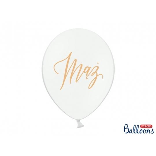Balony 30cm, Mąż, Pastel Pure White (1 op. / 50 szt.)