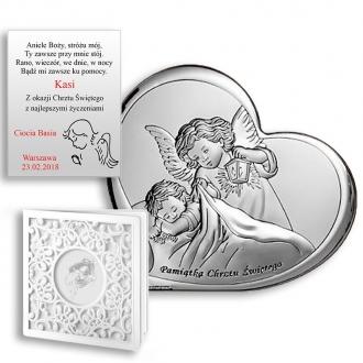 Obrazek Srebrny na Chrzest z Aniołkiem Okrywającym Dziecko WBC6449