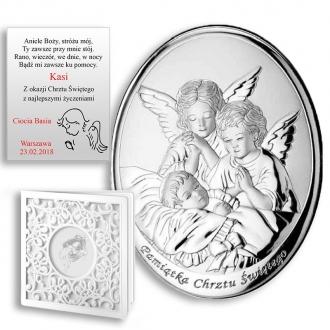 Obrazek Srebrny z Dwoma Aniołkami nad Dzieckiem Owal WM000604
