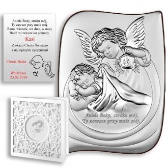 Obrazek Srebrny z Aniołkiem Okrywającym Dziecko WBC6473S