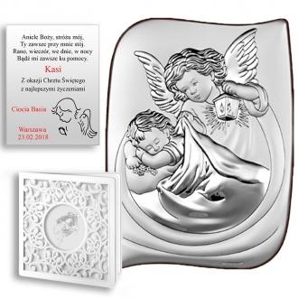 Obrazek Srebrny z Aniołkiem Okrywającym Dziecko 2 WBC6473