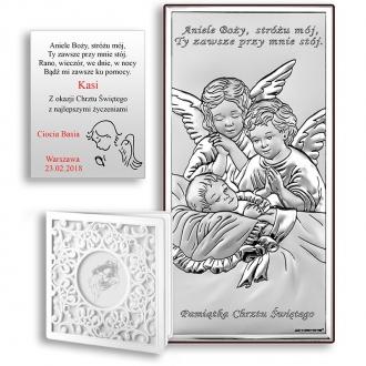 Obrazek Srebrny z Dwoma Aniołkami nad Dzieckiem WBC6468S