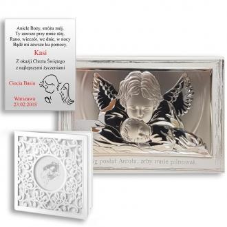 Obrazek Srebrny z Aniołkiem Czuwającym nad Dzieckiem WVL81288PL