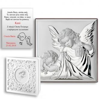 Obrazek Srebrny z Aniołkiem Okrywającym Dziecko WVL81200