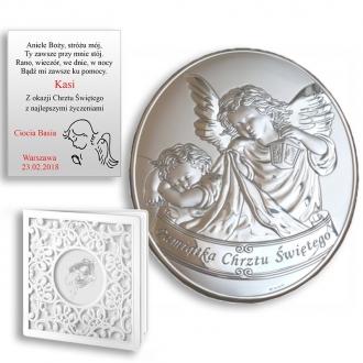 Obrazek Srebrny z Aniołkiem Okrywającym Dziecko Owal WV798