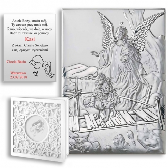 Obrazek Srebrny z Aniołem Strzegącym Dzieci WVL81202