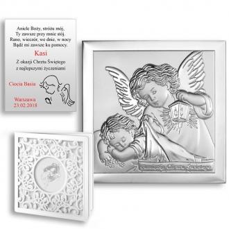 Obrazek Srebrny z Aniołkiem Okrywającym Dziecko WBC6430