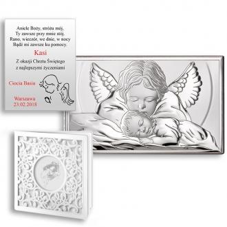 Obrazek Srebrny z Aniołkiem Czuwającym nad Dzieckiem WVL81288