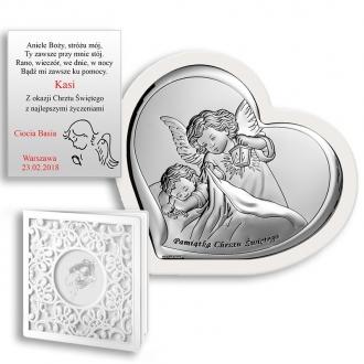 Obrazek Srebrny z Aniołkiem Okrywającym Dziecko WBC6449W