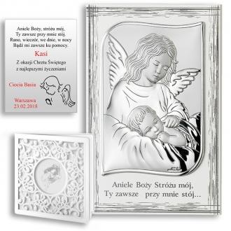 Obrazek Srebrny z Aniołkiem Czuwającym nad Dzieckiem WVL82109PL