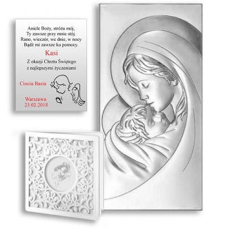 Obrazek Srebrny Pamiątka Chrztu Maryja