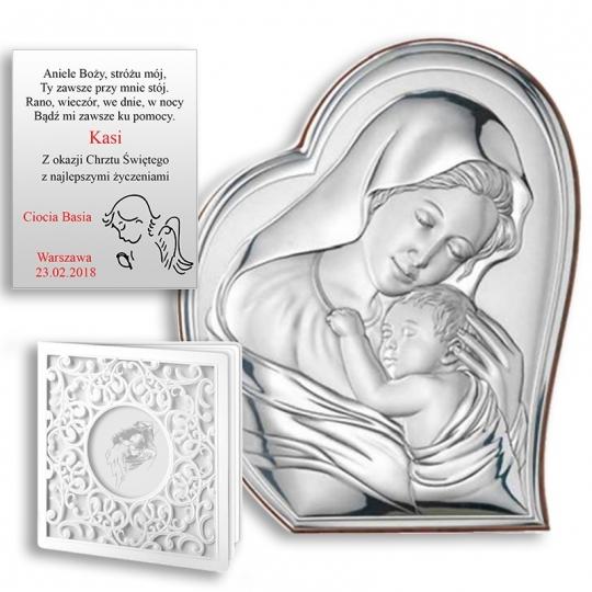 Obrazek Srebrny Z Maryją Tulącą Dzieciątko Jezus Wvl81051