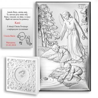 Obrazek Srebrny z Aniołem Strzegącym Dzieci WV18001