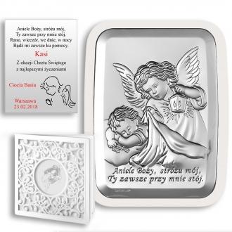 Obrazek Srebrny z Aniołkiem Okrywającym Dziecko WBC6441W