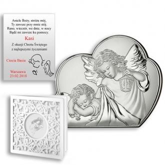 Obrazek Srebrny z Aniołkiem Okrywającym Dziecko WVL81257