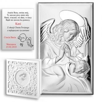 Obrazek Srebrny z Aniołem przy Dziecku WVL81285