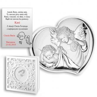 Obrazek Srebrny z Aniołkiem Okrywającym Dziecko WVL81258