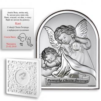 Obrazek Srebrny Pamiątka Chrztu Aniołek