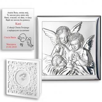 Obrazek Srebrny z Dwoma Aniołkami nad Dzieckiem WVL801