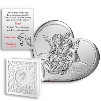 Obrazek Srebrny Pamiątka Chrztu Aniołki