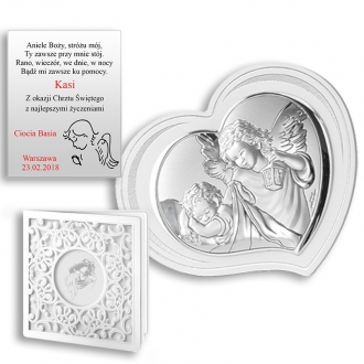 Obrazek Srebrny Pamiątka Chrztu Serce