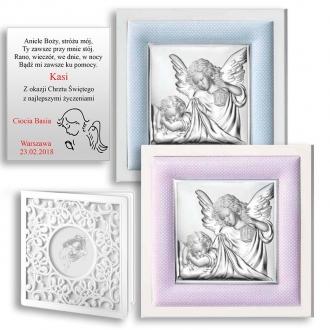 Obrazek Srebrny z Aniołkiem Okrywającym Dziecko WVL75020