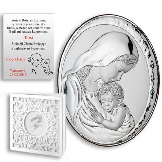 Obrazek Srebrny z Matką Boską i Jezuskiem Owal WVL82000