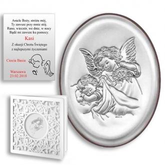 Obrazek Srebrny z Aniołem Stróżem Owal WBC6385