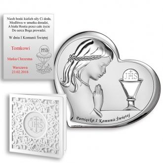Obrazek Srebrny na Pierwszą Komunię z Dziewczynką WBC6528A