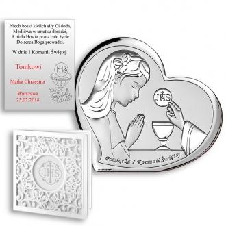 Obrazek Srebrny na Pierwszą Komunię z Dziewczynką