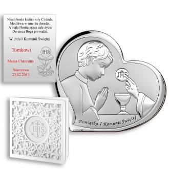 Obrazek Srebrny Pamiątka Komunii z Chłopcem