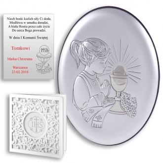 Obrazek Srebrny na Pierwszą Komunię z Dziewczynką Owal