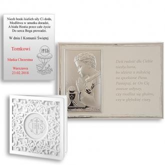 Obrazek Srebrny Pierwsza Komunia na Białym Panelu WVL820S
