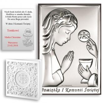 Obrazek Srebrny Pamiątka Komunii z Dziewczynką