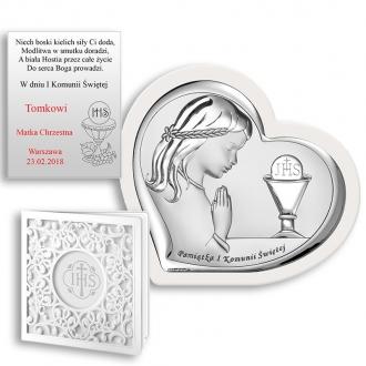 Obrazek Srebrny na Pierwszą Komunię z Dziewczynką WBC6528WA