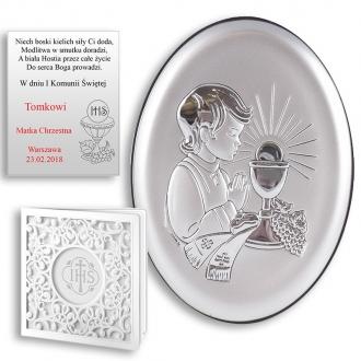 Obrazek Srebrny na Pierwszą Komunię z Chłopcem Owal WBC6413O