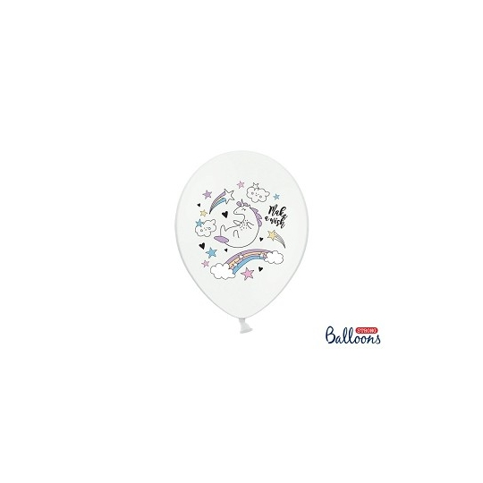 Balony 30cm, Jednorożec, Pastel Pure White (1 op. / 6 szt.)