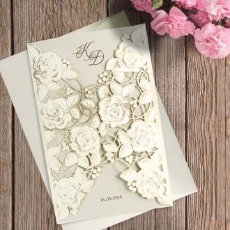 Zaproszenia Ślubne z listkami F1454