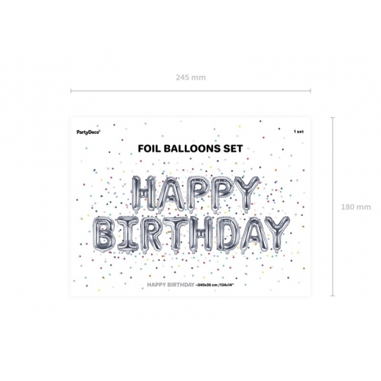 Balon foliowy Happy Birthday, 340x35cm, srebrny