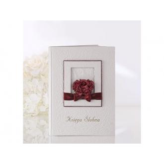 Księga Ślubna z ramką zdobioną bordowymi różyczkami i bordową kokardką