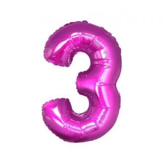 """Balon foliowy """"Cyfra 3"""", różowa, 85 cm"""