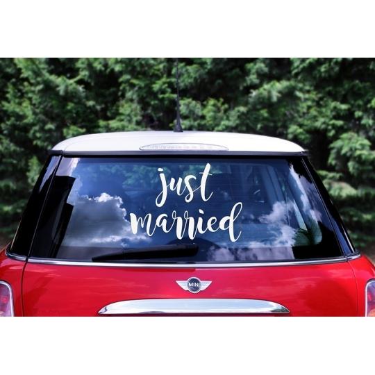 Naklejka ślubna na samochód - Just married, 33x45cm