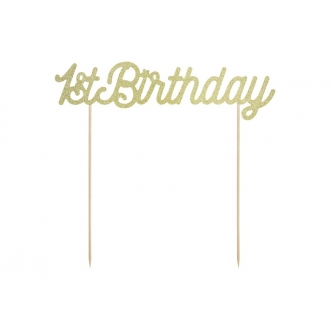 Topper na tort 1st Birthday, złoty