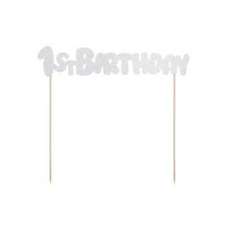 Topper na tort 1st Birthday, srebrny