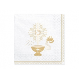 Serwetki Chrzest Święty, 33x33cm, złoty (1 op. / 20 szt.)