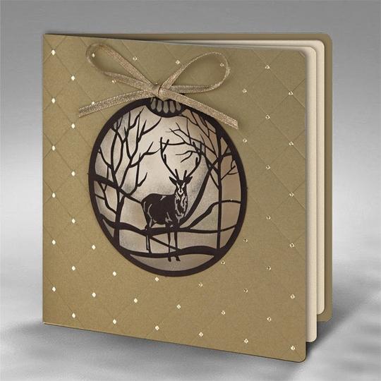 Kartka Świąteczna Bombka z Reniferem FS754