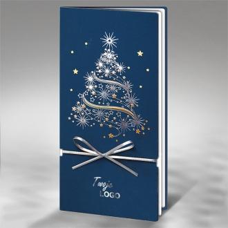 Kartka Świąteczna Choinka ze Srebrną Kokardą FS256si