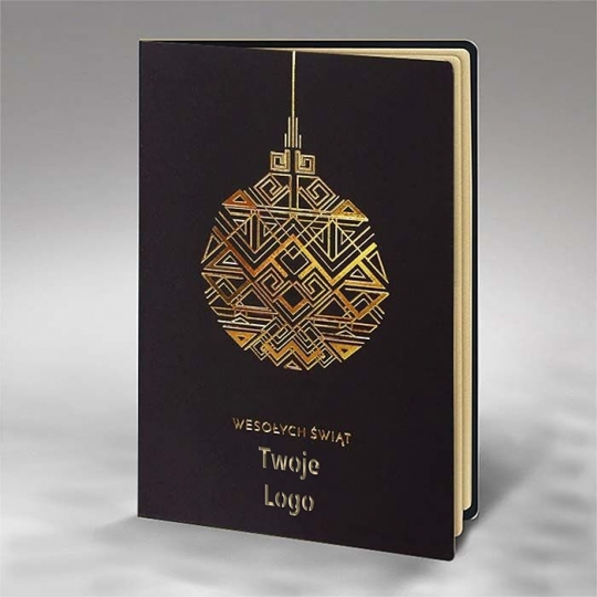 Kartka Świąteczna Złocona Geometryczna Bombka FS875ag