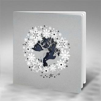 Kartka Świąteczna Renifery w Zimowej Scenerii FS924s